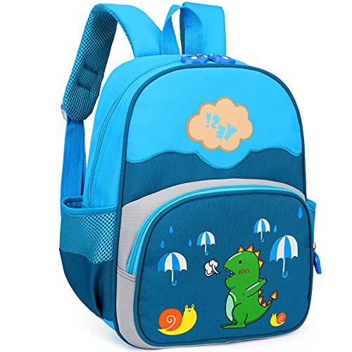 RUI NUO Mochila para niños pequeños Niños con correa Mochila azul con correa de dinosaurio para jardín de infantes