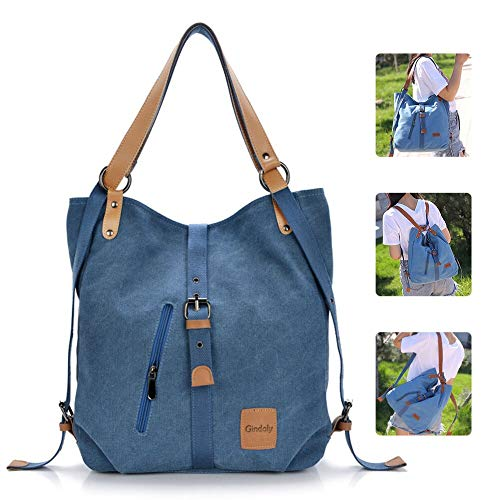 GINDOLY Vintage Lady Handbag Backpack Shouler Bag Canvas Large 3 in 1 Multifunctional Bag for Work,School, Shopping Travel and Daily Life (Blue)