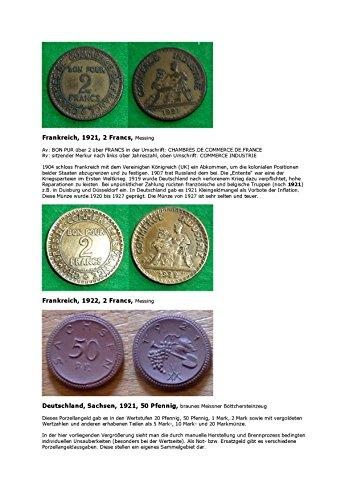Kalenderblatt zum Jahr 1921: Nachwirkungen des Ersten Weltkrieges (Zwei Francs 1921 und 1922 sowie 50 Pfennig  braunes Meissner Böttchersteinzeug von 1921)