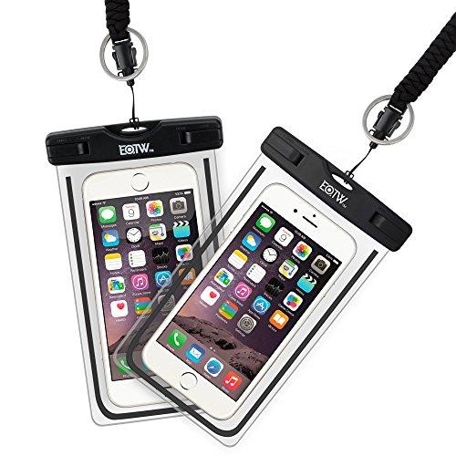 EOTW 2 Stück wasserdichte Handy Hülle, Wasser- und staubdichte Hülle für iPhone, Samsung, Nexus, HTC und mehr, Super Hülle für den Strand und Wassersport (2 Schwarz)