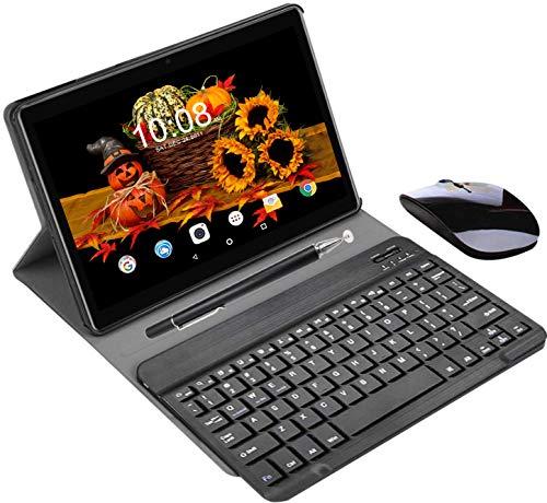 Tablet 10 Pulgadas Buenas 4GB RAM 64GB ROM Android 9.0 Pie Tablet PC 2 en 1 con Teclado y Mouse Quad-Core Dual SIM Buenas Tabletas de función de Llamada 4G 8000mAh