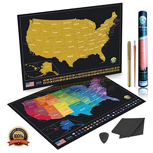 Scratch Off Map of The United States Poster with Vibrant Colors and All USA State Flags with Scratch Tool, Flag Pins | 24 x 17 | Artsy Rhino