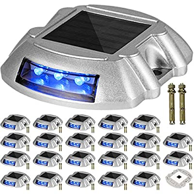 Happybuy Driveway Lights 24-Pack Solar Driveway Lights Bright Blue with Screw Solar Deck Lights Outdoor Waterproof Wireless Dock Lights 6 LEDs for Path Warning Garden Walkway Sidewalk Steps