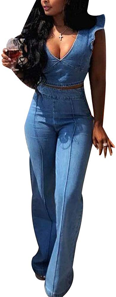 Women's Large discharge sale Sexy 2 Piece Denim Outfits Leg Pan Fashion Wied Top Crop OFFicial store