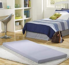 "Lightweight mattress instantly provides a comfortable sleeping space or lounging solution Features 3"" thick plush memory foam, which consists of both memory foam and comfort foam; Single size mattress measures 75"" L x 31"" W When not in use, it conven..."