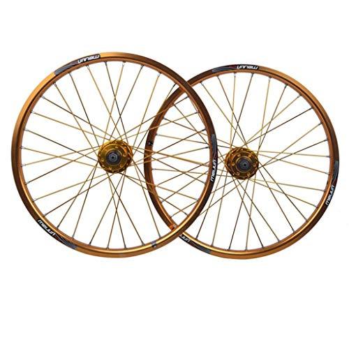 ZHTY Ruota di Bicicletta da 20 Pollici BMX Set di Ruote per Bici a Doppio Strato Freno a Disco con cerchione in Lega Sgancio rapido 7 8 9 10 velocità 32H Ruota di Bicicletta