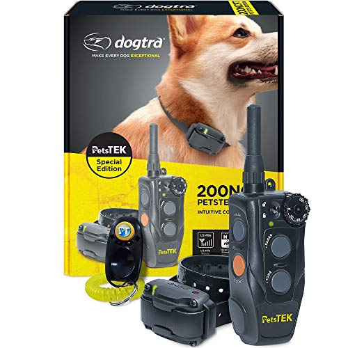 Dogtra 200NCPT Electronic Dog Training Collar with Remote for Small Dogs to Large Dogs - 2640 ft Range, Vibration, Tone, 100 Stimulation Levels, Safety Lock, Waterproof, Rechargeable, PetsTEK Edition
