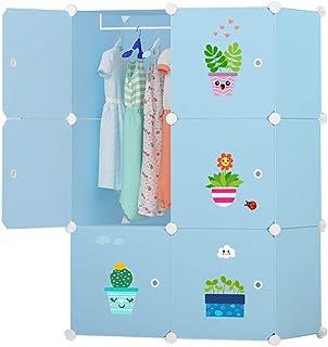 Garde-robe Cartoon Enfants Armoire Bébé Enfant Tissu Armoire de Combinaison à Armature en Acier de Stockage Petit Meuble e...