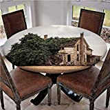 """Elastic Edged Polyester Fitted Table Cover,Ancient Historical House with Overgrown Oregon Ivy on Roof Field Image,Fits up 40""""-44"""" Diameter Tables,The Ultimate Protection for Your Table,Beige Green"""