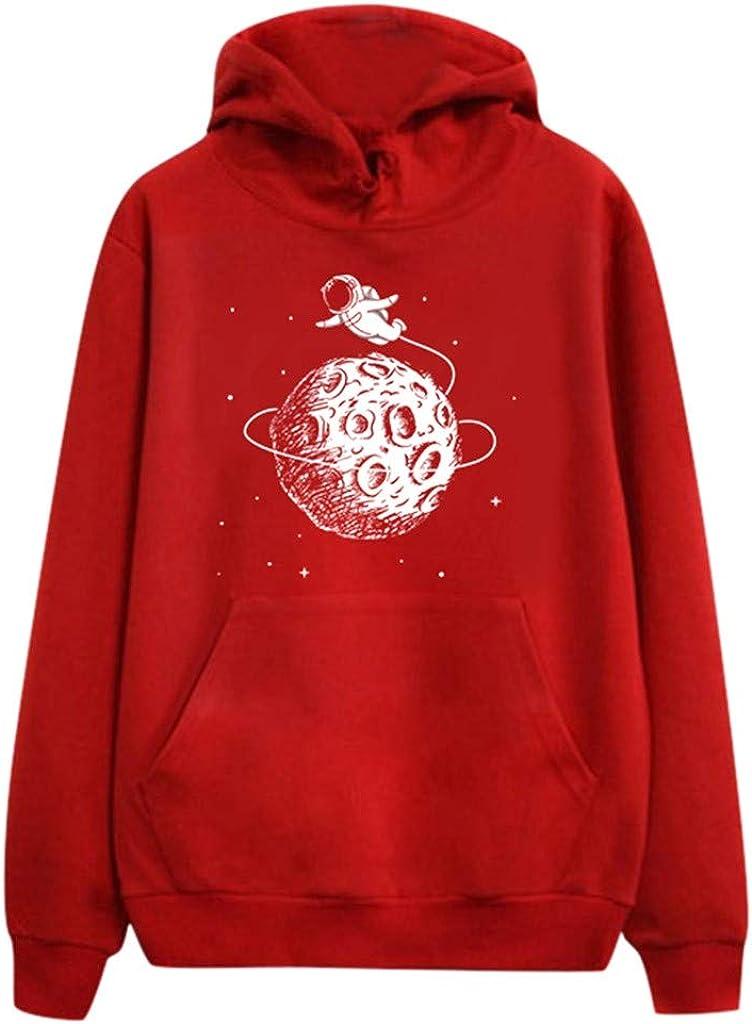 Girls' Hoodie, Misaky Pullover Sweatshirt Jumper Casual Loose Cartoon Planet Print Long Sleeve Hooded Blouse