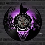 Batman Joker Grabar CD Reloj de pared de diseño moderno relojes clásicos de iluminación LED con cambio de 7 colores Reloj de pared de vinilo Decoración Artística