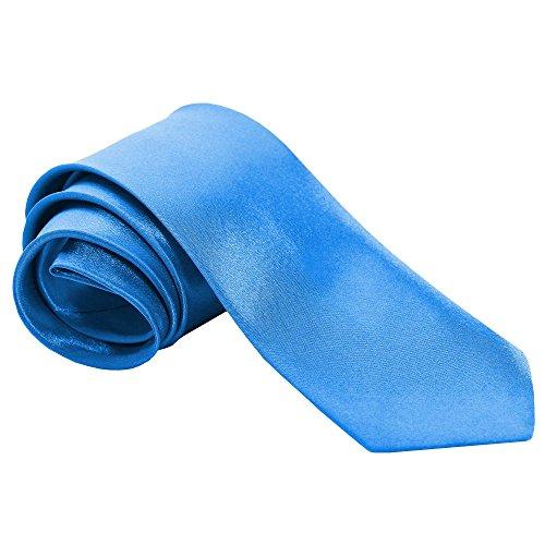 tumundo 1 Krawatte Tie Breit für Hemd Anzug Schlips Binder Mode Business Hochzeit Fasching Herrenschmuck + Anleitung Geschenkbox, Variante:hellblau