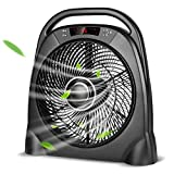 TRUSTECH Remote Floor Fan - 12 Inch Quiet Table Fan with Adjustable Speeds & Automatic Shutoff Timer, Sleep & Powerful Modes, Portable Box Fan for Home Bedroom Office