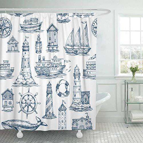 XZLWW douchegordijn met haken aquarel zeeman nautische zee marine vuurtoren boot marine anker schip antieke reis badkamer