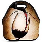 Ksipop botella de vidrio de vino tinto bolsa de almuerzo reutilizable de arte impermeable bolsa de picnic con aislamiento caja de cremallera