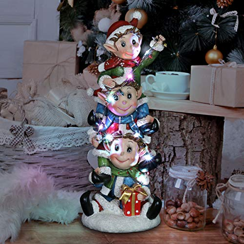 Exhart Stacked Elves Christmas Statue w/Battery Operated LED Lights – Indoor/Outdoor Hand Painted Holiday Statuary - Durable, Weather-Resistant, Christmas Resin Yard Art Decor, 5.5' x 6.0' x 14.0""