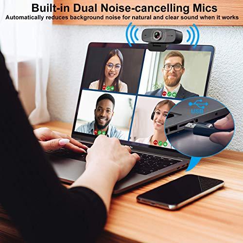 1080P Webcam mit Mikrofon, Angetube Streaming HD Webkamera 100 ° Weitwinkelansicht Web Kamera Kompatibel mit Windows Android iOS Linux für Skype Xbox One Google Meet für Desktop-Computer PC Mac