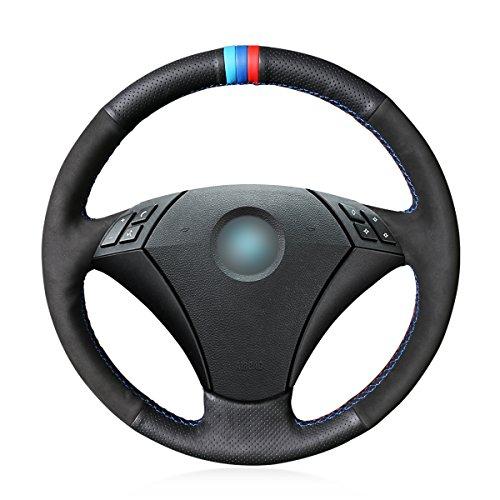 Funda para volante de coche hecha a mano de piel auténtica negra de ante para BMW 530 523 523li525 520li~535 545i E60