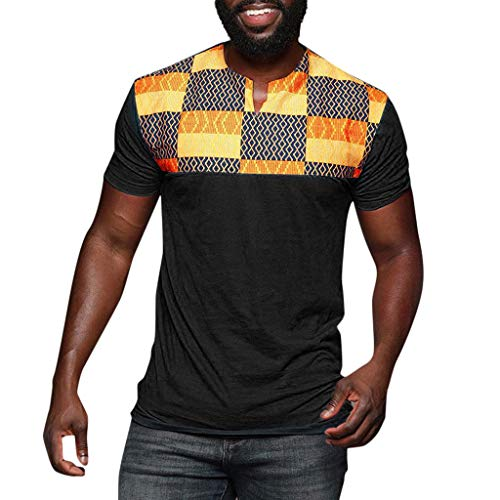 AmyGline AmyGline Herren T Shirt Top Neu-Männer Mode Casual Nationaler Stil Druck Patchwork Kurzarm T-Shirt Bluse Slim Fit Kurzarmshirt Sweatshirt Pullover Poloshirt Hemd