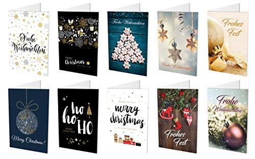 20 Weihnachtskarten (10 unterschiedliche Motive, jeweils 2 Klappkarten) + 20 hochwertige, haftklebende Umschläge, Frohe Weihnachten, Frohes Fest, Merry Christmas (20)