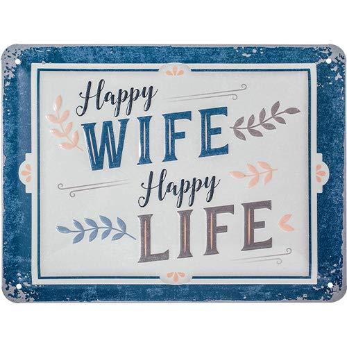 Nostalgic-Art Retro Blechschild Word Up Wife Happy Life – Geschenk-Idee für Nostalgie-Fans, aus Metall, Vintage-Design mit Spruch, 15 x 20 cm