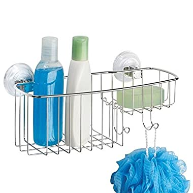 mDesign Power Lock Suction Bathroom Shower Combo Caddy Basket for Shampoo, Conditioner, Soap - Stainless Steel