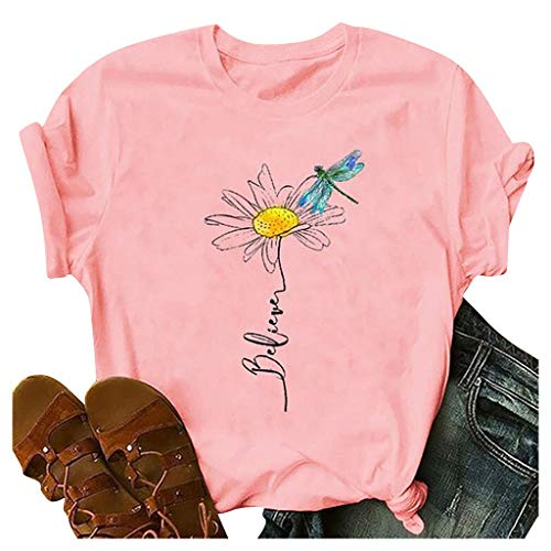 Meikosks Womens Graphic Printing Shirts Short Sleeve Round Neck Tee Tops Summer Blouse Pink