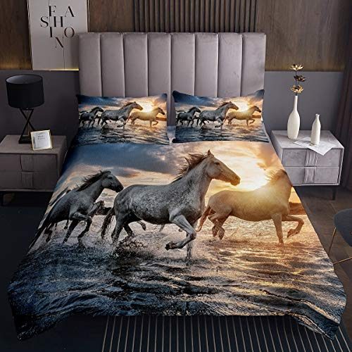 Pferd Bettüberwurf 170x210cm für Kinder Galoppierende Pferde Gedruckt Steppdecke Dekorative Chic Sonnenuntergang Landschaft Tagesdecke 3D Wild Tier Muster 2St