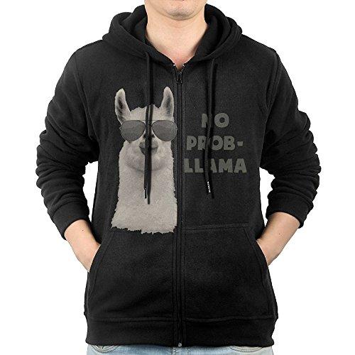 Mens No Problem Llama Poster Full-Zip Hoodie Sweatshirt Fleece Pullover Hooded Shirts Pocket M