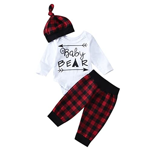 b5d7d96a7848 3Pcs Set Infant Newborn Baby Boy Girl Outfit Baby Bear Romper+Plaid Long  Pants