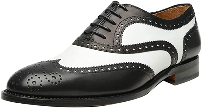 1930s Men's Shoe Styles, Art Deco Era Footwear ROYAL WIND Geninue Leather Spectator Shoes Mens Black White Lace Up Wing Tip Perforated Dress Shoes  AT vintagedancer.com