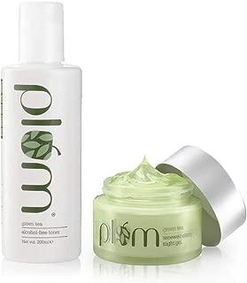 Plum Green Tea - Toner and Renewed Clarity Night Gel, 250 ml (Pack of 2), For Oily & Acne Prone Skin, Vegan Skin care