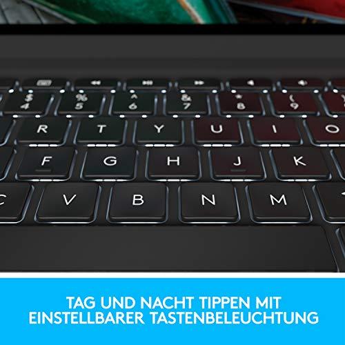 Logitech SLIM FOLIO PRO Bluetooth-Tastatur-Case mit Hintergrundbeleuchtung für iPad Pro 11 Zoll (1. und 2. Generation) (Modell: A1980, A1934, A1979, A2013), Deutsches QWERTZ-Layout Grafit