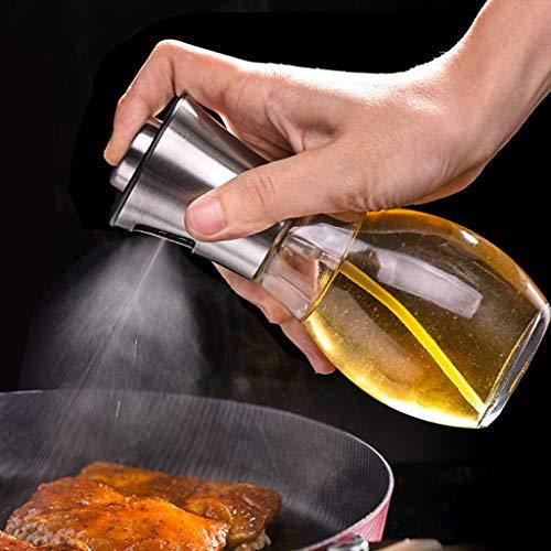 Edelstahl Ölsprüher Flasche Öl Essig Spender 200ML, Hukz Essig Spritzer Ölspender Öl Auslöser Oil Sprayer Bottle Dispenser Öl Sprüher Olivenöl Container für Kochen, Salat, BBQ, Grillen, Pasta