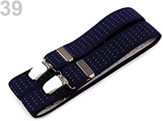 1pc Blue Dark Trouser Braces/Suspenders Width 3cm Length 125cm X-Back, and Other Accessories, Fashion