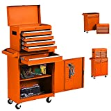 Big Rolling Tool Chest 5-Drawer High Tool Chest and Tool Storage Cabinet, Removable Portable Box...