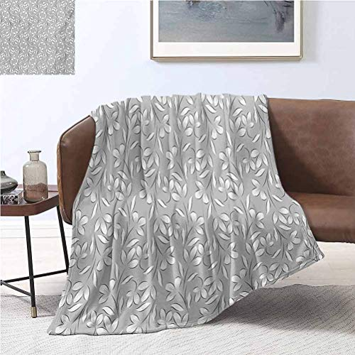 alisoso Silver Blankets 50x60 Inch Floral Ornaments Spring Theme Abstract Paisley Antique Vintage Style Illustration Bed Blanket Microfiber Plush Flannel Blanket for Couch Grey White