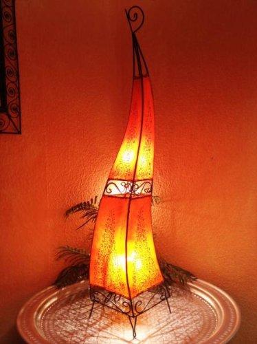 Orientalische Stehlampe Rahaf orange 120cm Lederlampe Hennalampe Lampe | Marokkanische Große Stehlampen aus Metall, Lampenschirm aus Leder | Orientalische Dekoration aus Marokko, Farbe Orange