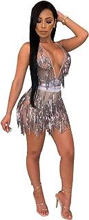 Women's Glitter Sexy Deep V Neck Sequin Beaded Halter Bodycon Mini Nightclub Party Dress