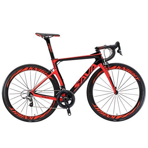 SAVADECK Phantom3.0 Carbon Rennrad 700C Kohlefaser Rennräder Vollcarbon Fahrrad mit Shimano Ultegra R8000 22 Gang Schaltgruppe Continental Reifen und Fizik Sattel (Schwarz Rot-(50mm Räder), 50cm)