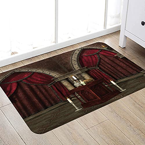 Bathroom anti-slip mat Gothic Collection,Mysterious Dark in Castle Ancient Pillars Candles Spiritual Atmosphere Pattern,Or Suitable for living room, kitchen, bathroom floor carpet (50x80 cm)