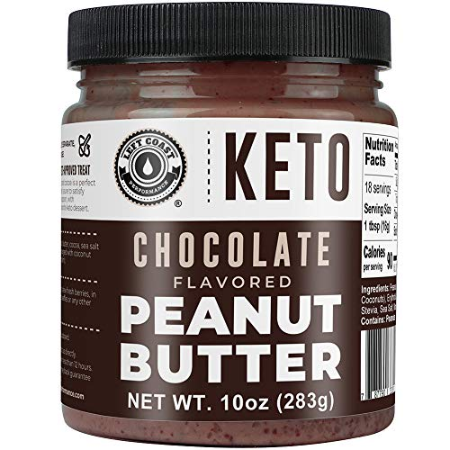 Keto Chocolate Peanut Butter Spread (1g net carbs) with MCT Oil and real Cocoa (Dark Chocolate). Vegan, Low Carb, No Added Sugar, Dairy & Lactose Free, Ketogenic Gourmet Peanut Butter Fat Bomb, 10 oz
