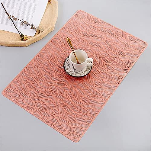 Manteles individuales,Mantel individual rectangular creativo moderno y simple, 4 piezas de tazón de fuente nórdico antideslizante resistente al calor para el hogar, oro rosa