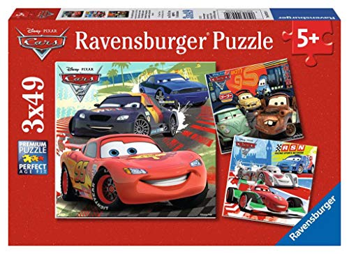 Ravensburger Disney Cars: Worldwide Racing Fun 3 x 49-Piece Jigsaw Puzzle for Kids – Every Piece is Unique, Pieces Fit Together Perfectly