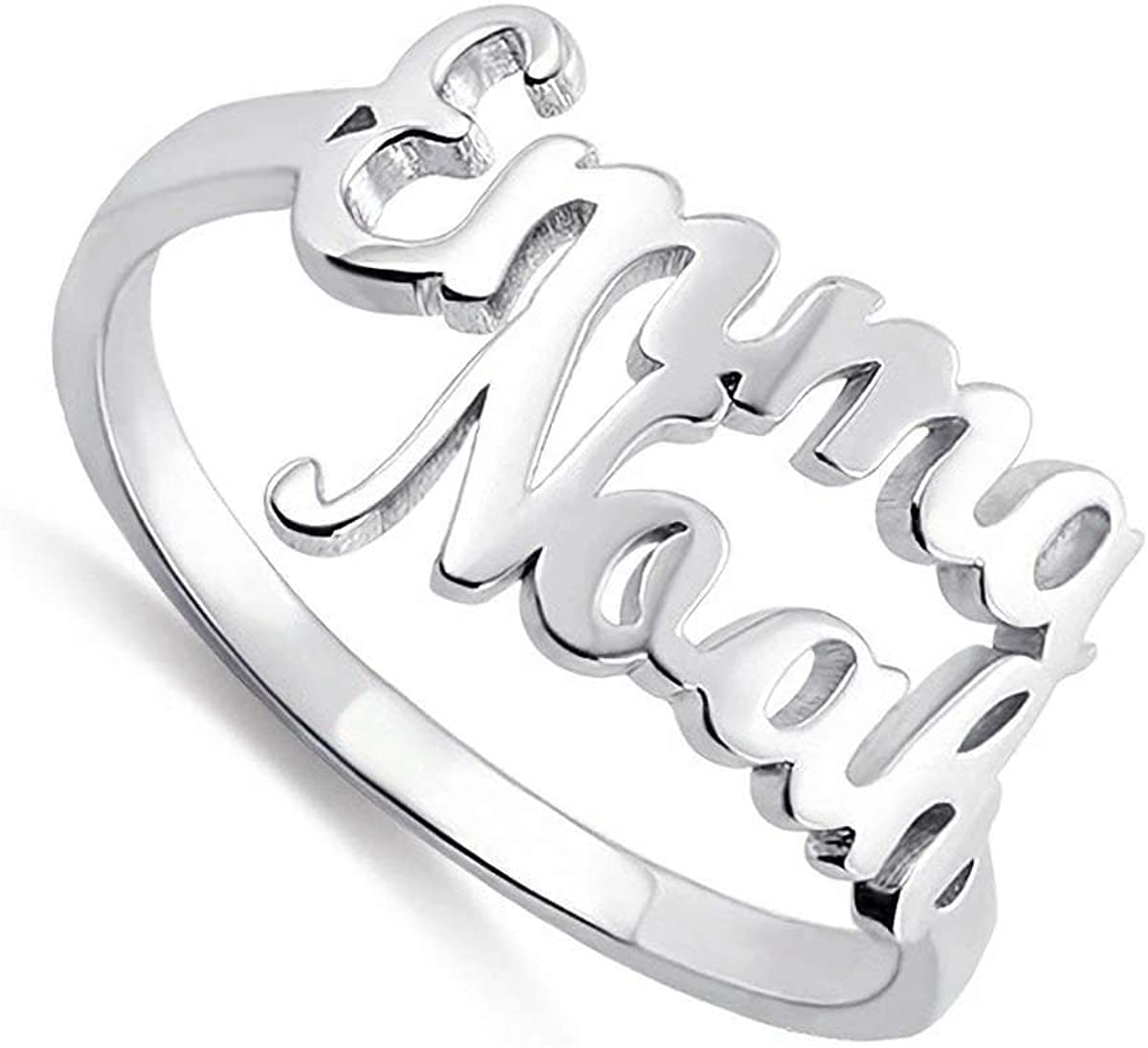 URONE Personalized Name Ring Special price for a All stores are sold limited time Sterling Silver Two R Engraved