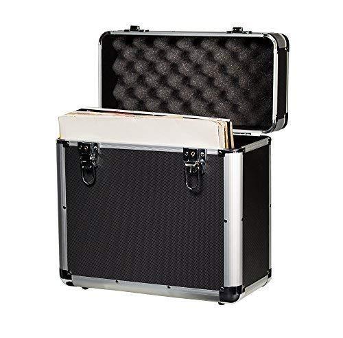 Jack & Cable Aufbewahrungsbox für Schallplatten, ABS / verstärktes Aluminium, abschließbar, für 50 Schallplatten, 12 Zoll (30,5 cm)