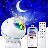 TEPILOS Sternenhimmel Projektor, LED Ozeanwellen Projektor Nachtlicht mit Fernbedienung/Bluetooth 5.0/4 Helligkeitsstufen/Timer Geeignet/360°Drehen für Kinder Erwachsene Party Weihnachten Ostern