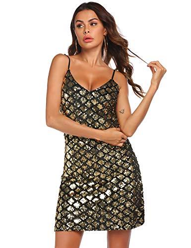 Parabler Damen Kleid Pailletten Damen Sexy Tiefer V-Ausschnitt Träger Cocktailkleid Glitzer Abendkleider Rückenfrei für Party Club Golden