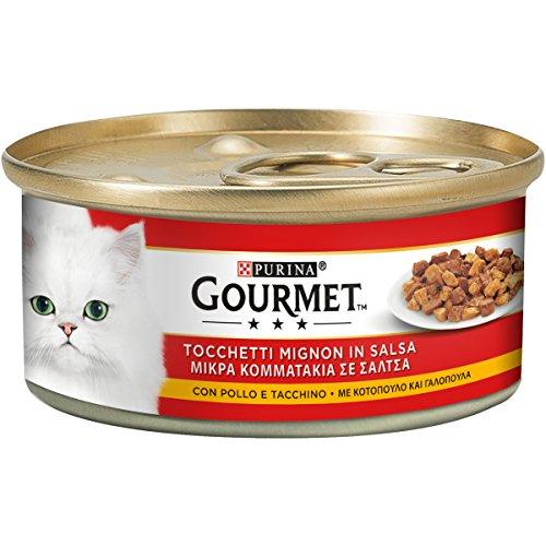 Purina Gourmet Rosso Umido GattoTocchetti Mignon con Pollo e Tacchino, 195 g, 24 Lattine da 195 g, Confezione da 24 x 195 g