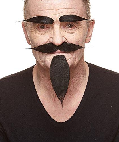 Selbstklebende Neuheit Hairy Russian Fälscher Bart Fälscher Schnurrbart und Fälscher Augenbrauen für Erwachsene Schwarz Farbe
